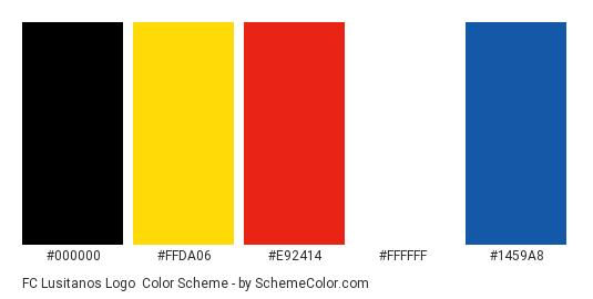 FC Lusitanos Logo - Color scheme palette thumbnail - #000000 #ffda06 #e92414 #ffffff #1459a8