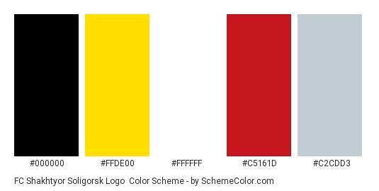 FC Shakhtyor Soligorsk Logo - Color scheme palette thumbnail - #000000 #ffde00 #ffffff #c5161d #c2cdd3