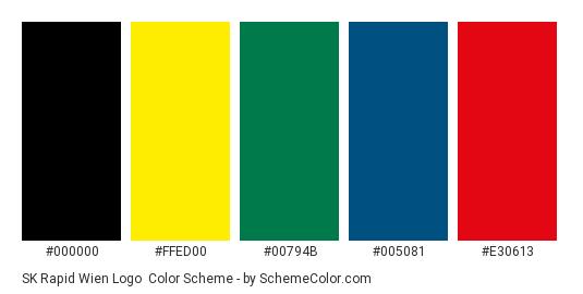 SK Rapid Wien Logo - Color scheme palette thumbnail - #000000 #ffed00 #00794b #005081 #e30613