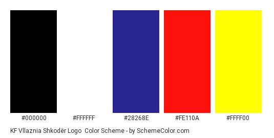 KF Vllaznia Shkodër Logo - Color scheme palette thumbnail - #000000 #ffffff #28268e #fe110a #ffff00