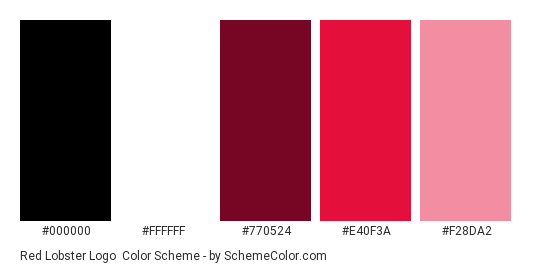 Red Lobster Logo - Color scheme palette thumbnail - #000000 #ffffff #770524 #e40f3a #f28da2