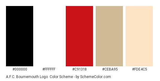 A.F.C. Bournemouth Logo - Color scheme palette thumbnail - #000000 #ffffff #c91318 #ceba95 #fde4c5
