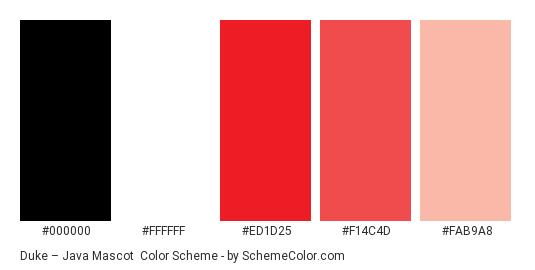 Duke – Java Mascot - Color scheme palette thumbnail - #000000 #ffffff #ed1d25 #f14c4d #fab9a8