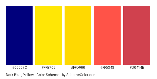 Dark Blue, Yellow & Red - Color scheme palette thumbnail - #00007C #FFE705 #FFD900 #FF5348 #D0414E