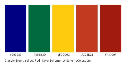 Classic Green, Yellow, Red & Blue - Color scheme palette thumbnail - #000083 #006B3D #FDCC0C #C23B21 #A11C0F