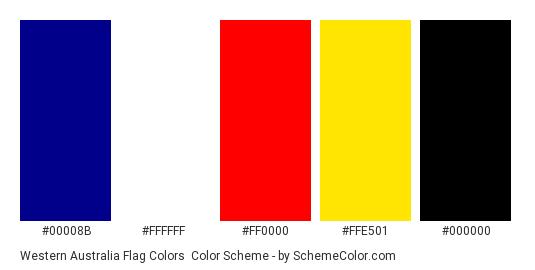 Western Australia Flag Colors - Color scheme palette thumbnail - #00008B #FFFFFF #FF0000 #FFE501 #000000