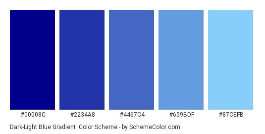 Dark-Light Blue Gradient - Color scheme palette thumbnail - #00008C #2234A8 #4467C4 #659BDF #87CEFB