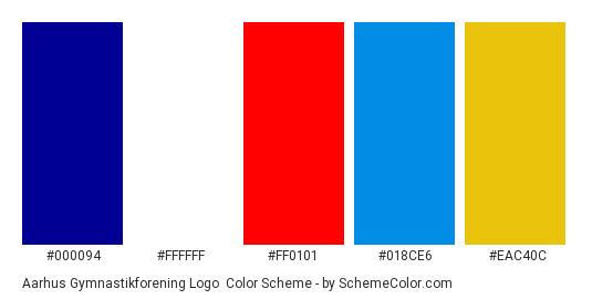 Aarhus Gymnastikforening Logo - Color scheme palette thumbnail - #000094 #ffffff #ff0101 #018ce6 #eac40c