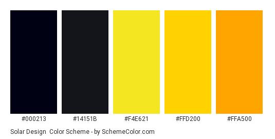 Solar Design - Color scheme palette thumbnail - #000213 #14151b #f4e621 #ffd200 #ffa500