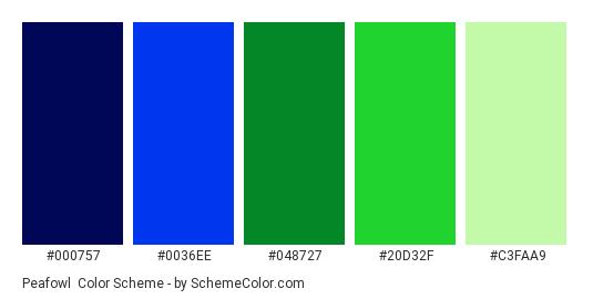 Peafowl - Color scheme palette thumbnail - #000757 #0036EE #048727 #20D32F #C3FAA9