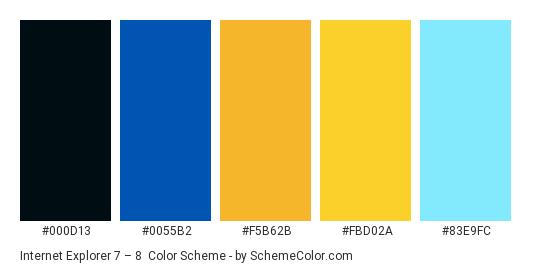 Internet Explorer 7 – 8 - Color scheme palette thumbnail - #000d13 #0055b2 #f5b62b #fbd02a #83e9fc