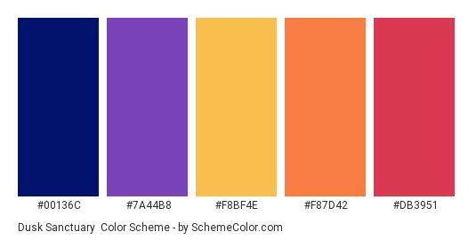 Dusk Sanctuary - Color scheme palette thumbnail - #00136C #7A44B8 #F8BF4E #F87D42 #DB3951