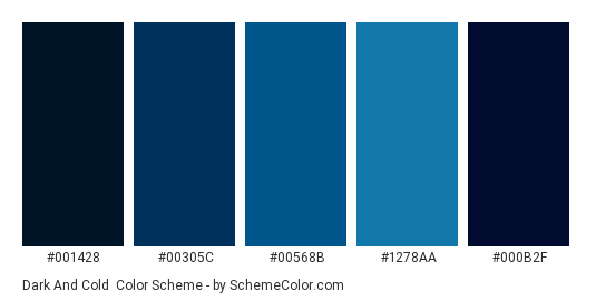 Dark And Cold Color Scheme Palette Thumbnail 001428 00305c 00568b
