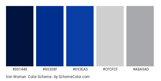 Iron Woman - Color scheme palette thumbnail - #001440 #00308F #093EA5 #CFCFCF #A8A9AD