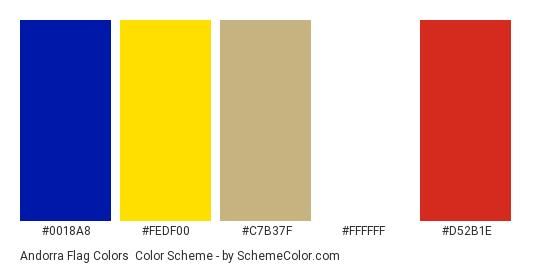 Andorra Flag Colors - Color scheme palette thumbnail - #0018a8 #fedf00 #c7b37f #ffffff #d52b1e