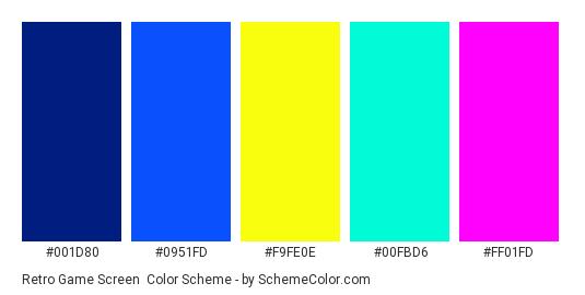 Retro Game Screen - Color scheme palette thumbnail - #001D80 #0951FD #F9FE0E #00FBD6 #FF01FD