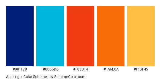 Aldi Logo - Color scheme palette thumbnail - #001F78 #00B5DB #F03D14 #FA6E0A #FFBF45