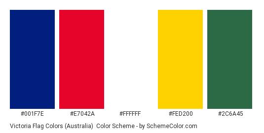 Victoria Flag Colors (Australia) - Color scheme palette thumbnail - #001F7E #E7042A #FFFFFF #FED200 #2C6A45