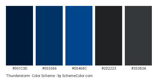 Thunderstorm - Color scheme palette thumbnail - #001c3d #003366 #00468c #202223 #35383a