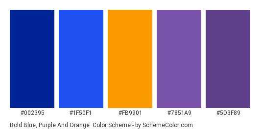 Bold Blue, Purple and Orange - Color scheme palette thumbnail - #002395 #1F50F1 #FB9901 #7851A9 #5D3F89