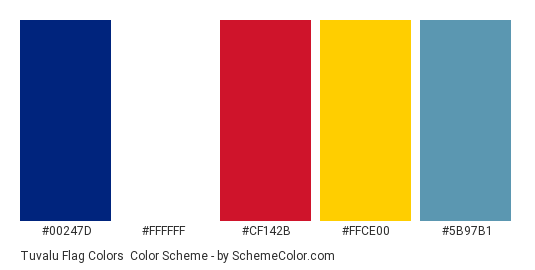Tuvalu Flag Colors - Color scheme palette thumbnail - #00247d #ffffff #cf142b #ffce00 #5b97b1