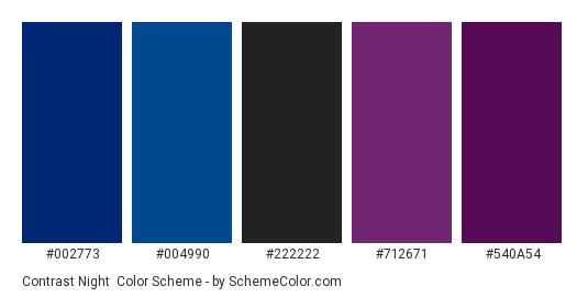 Contrast Night - Color scheme palette thumbnail - #002773 #004990 #222222 #712671 #540a54