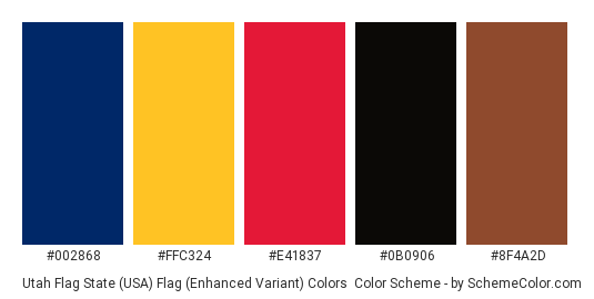 Utah Flag State (USA) Flag (Enhanced Variant) Colors - Color scheme palette thumbnail - #002868 #ffc324 #e41837 #0b0906 #8f4a2d