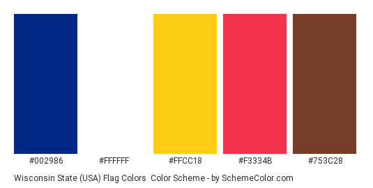 Wisconsin State (USA) Flag Colors - Color scheme palette thumbnail - #002986 #ffffff #ffcc18 #f3334b #753c28