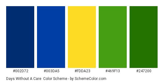 Days Without a Care - Color scheme palette thumbnail - #002d72 #003da5 #fdda23 #469f13 #247200