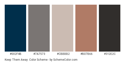 Keep them Away - Color scheme palette thumbnail - #002f4b #7a7573 #cbbbb2 #b07b66 #312e2c