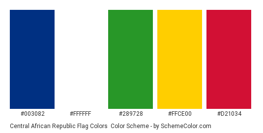 Central African Republic Flag Colors - Color scheme palette thumbnail - #003082 #ffffff #289728 #ffce00 #d21034