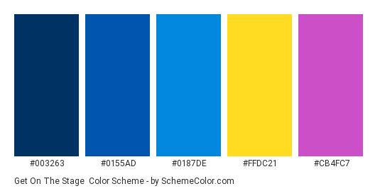 Get on the Stage - Color scheme palette thumbnail - #003263 #0155AD #0187DE #FFDC21 #CB4FC7
