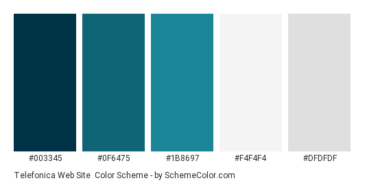 Telefonica Web Site - Color scheme palette thumbnail - #003345 #0f6475 #1b8697 #f4f4f4 #dfdfdf