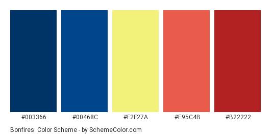 Bonfires - Color scheme palette thumbnail - #003366 #00468C #F2F27A #E95C4B #B22222
