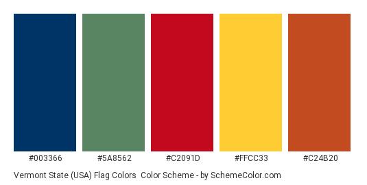 Vermont State (USA) Flag Colors - Color scheme palette thumbnail - #003366 #5a8562 #c2091d #ffcc33 #c24b20