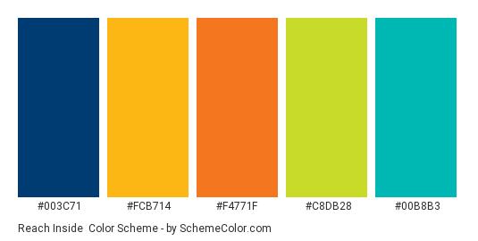 Reach Inside - Color scheme palette thumbnail - #003c71 #fcb714 #f4771f #c8db28 #00b8b3