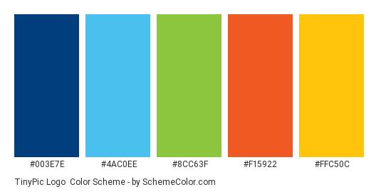 TinyPic Logo - Color scheme palette thumbnail - #003e7e #4ac0ee #8cc63f #f15922 #ffc50c