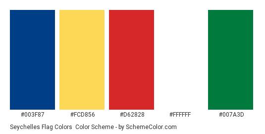 Seychelles Flag Colors - Color scheme palette thumbnail - #003f87 #fcd856 #d62828 #ffffff #007a3d