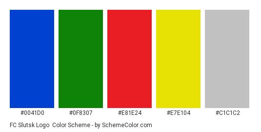 FC Slutsk Logo - Color scheme palette thumbnail - #0041d0 #0f8307 #e81e24 #e7e104 #c1c1c2