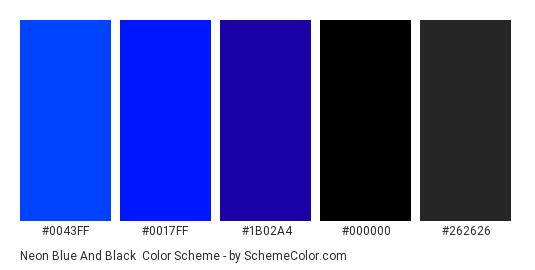 Neon Blue and Black - Color scheme palette thumbnail - #0043FF #0017ff #1B02A4 #000000 #262626