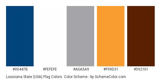 Louisiana State (USA) Flag Colors - Color scheme palette thumbnail - #00447b #fefefe #a5a5a9 #f99d31 #592101