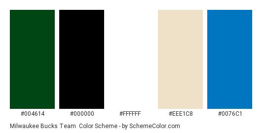 5b9956769714 Milwaukee Bucks Team - Color scheme palette thumbnail -  004614  000000   ffffff