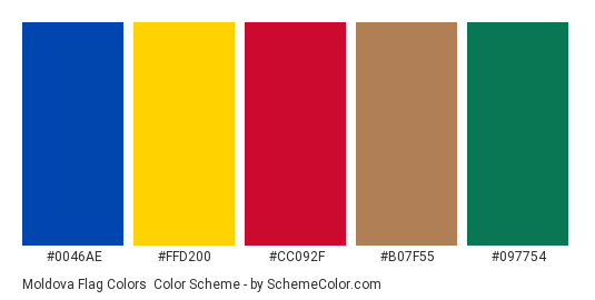 Moldova Flag Colors - Color scheme palette thumbnail - #0046ae #ffd200 #cc092f #b07f55 #097754