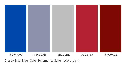 Glossy Gray, Blue & Red - Color scheme palette thumbnail - #0047AC #8C92AB #BEBEBE #B32133 #7C0A02