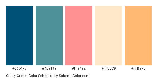 Crafty Crafts - Color scheme palette thumbnail - #005177 #4E9199 #FF9192 #FFE8C9 #FFB973