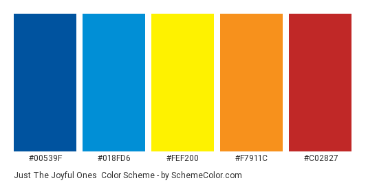 Just the Joyful Ones - Color scheme palette thumbnail - #00539f #018fd6 #fef200 #f7911c #c02827
