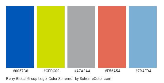 Berry Global Group Logo - Color scheme palette thumbnail - #0057b8 #cedc00 #a7a8aa #e56a54 #7bafd4