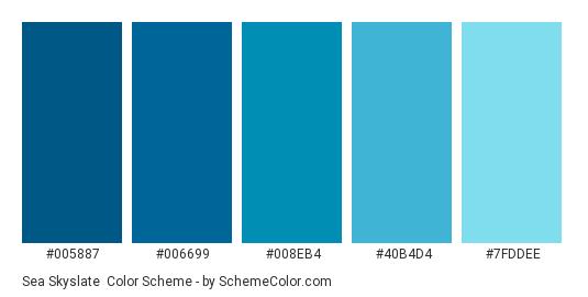Sea Skyslate - Color scheme palette thumbnail - #005887 #006699 #008eb4 #40b4d4 #7fddee