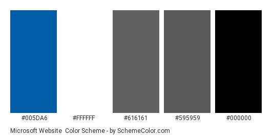 Microsoft Website - Color scheme palette thumbnail - #005DA6 #FFFFFF #616161 #595959 #000000