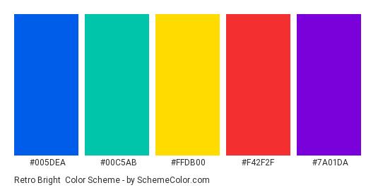 Retro Bright - Color scheme palette thumbnail - #005dea #00c5ab #ffdb00 #f42f2f #7a01da
